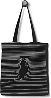 [Upgraded] Andes Heavy Duty Gusseted Canvas Tote Bag, Handmade from 12-ounce 100% Natural Cotton, Perfect for Shopping, Laptop, School Books, Kitty Cat Line Art Black