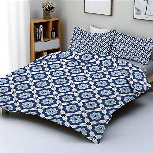 Juego de funda nórdica, azulejos antiguos marroquíes orientales étnicos como detalles florales de la imagen Juego de cama decorativo de 3 piezas con 2 fundas de almohada, azul oscuro, turquesa y blanc