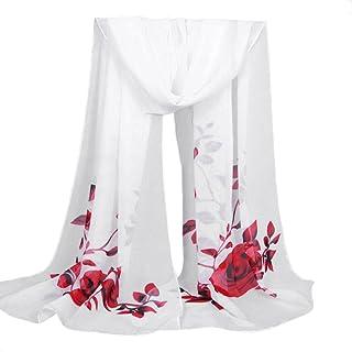 Elogoog Clearance Scarves Sheer Chiffon Rose Floral Fashion Women's Infinity Loop Circle Neck Scarf Long Wrap Shawl