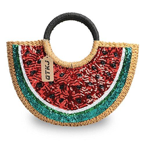 Semi-circle Rattan Straw Handbags, Hand-woven Summer Watermelon Beach Straw Bag with Sequin for Women