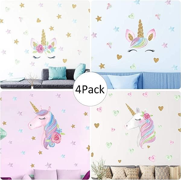 独角兽墙贴花 4 个装 4 种风格独角兽墙贴装饰带心星星女孩卧室家居装饰品