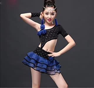 Blue Bambini Latini di Ballo Abbigliamento/Abiti e Le Ragazze/Game Show Vestiti/Imbracatura Abbigliamento per la Danza dei Bambini/Rosa/Blu/Nero 100cm