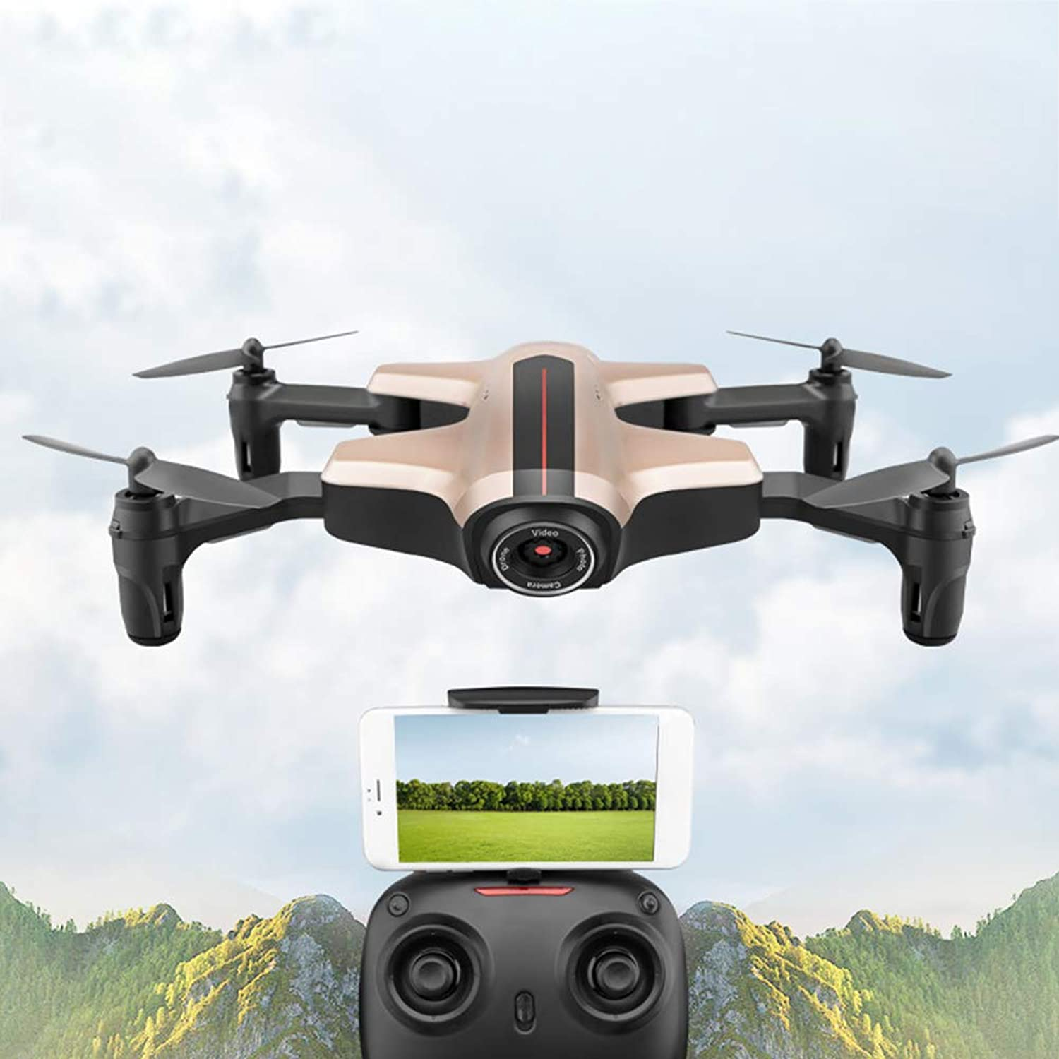 Drone, 2.4GHz Altitude Hold Wide Angle GSensor Remote Control Toys WiFi FPV Foldable Headless Mode RC Quadcopter FourAxis with HD Camera(pink gold)