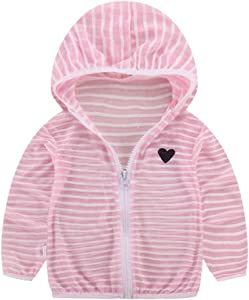 Deloito Child Jackets Baby Toddler Summer Sun Protection Clothing Baby Girls Boys Jacket Coat Outwear with Hooded Zip Pink