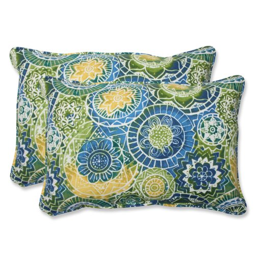 "Pillow Perfect Outdoor/Indoor Omnia Lagoon Oversized Lumbar Pillows, 24.5"" x 16.5"", Blue, 2 Pack"