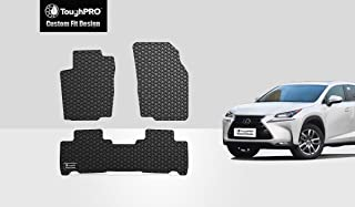 ToughPRO Floor Mats Set (Front Row + 2nd Row) Compatible with Lexus Nx200t Nx300h - All Weather - Heavy Duty - (Made in USA) - Black Rubber - 2015, 2016, 2017, 2018, 2019, 2020