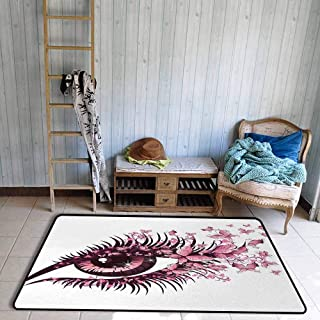 Butterflies Modern Area Rug Fairy Female Eye with Butterflies Eyelashes Mascara Stare Party Makeup Anti-Static W39 x L63 Light Pink Purple