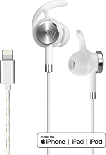 PALOVUE Lightning Earphones with Mircrophone Headphones Earbuds for Sports Workout MFi Certified Noise Isolation Compatible iPhone 11 Pro Max iPhone X/XS Max/XR iPhone 8/P iPhone 7/P NeoFlow (Silver)