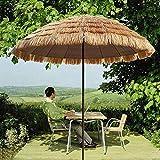 RUINAIER Sombrilla con Mástil de para Terraza Playa Parasol Garden portátil Paraguas con manivela y función de inclinación, sombrilla de Playa Paja (8 pies, Natural), balcón/terraza/Beach Sun