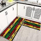 Alfombras Cocina Lavable Antideslizante Marihuana Leaf Weed Reggae Rasta Tie Dye Jamaica, Alfombrilla de Goma Alfombra de Baño