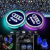 Posavasos LED para coche, iluminación interior de coche, 7 colores y 3 modos de carga USB, para decoración interior del coche, decoración de la ceniza, accesorios de ambiente (Audi)