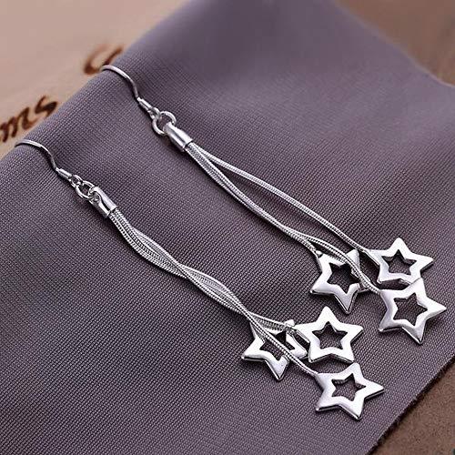 JY Tai Chi Three Sky Star Pendientes Fashion Star Pendientes de Plata para Mujer/Acero Inoxidable/Alergia/Plata Brillante/Peque?o Exquisito/Pendientes de Gancho Negocio /