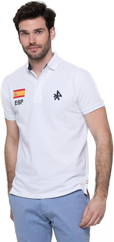 Polo con Bandera Española, 100% Algodón, Polo para Hombre - Valecuatro