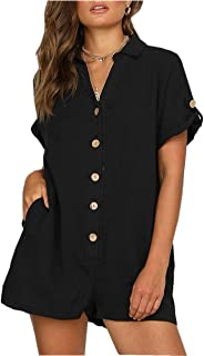 Asskdan Women's Casual V Neck Button Down Cotton Linen Short Sleeve Jumpsuit Romper with Pockets