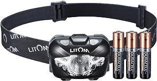 LITOM ヘッドライト センサー機能 6つの点灯モード IPX6防水仕様 168Lumen 単四電池付 キャンプ/サイクリング/ハイキングなどのアウトドア活動に適用