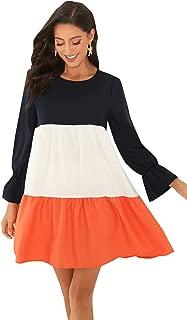 Floerns Women's Causal Long Sleeve Color Block Swing Tunic Dress