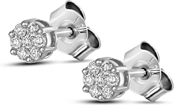 Friendly Diamonds IGI Certified 1/4 ct to 2 3/8 ct Lab Grown Cluster Diamond Earrings For Women 10K White Gold Lab Created SI-GH Quality Diamond Earrings For Women