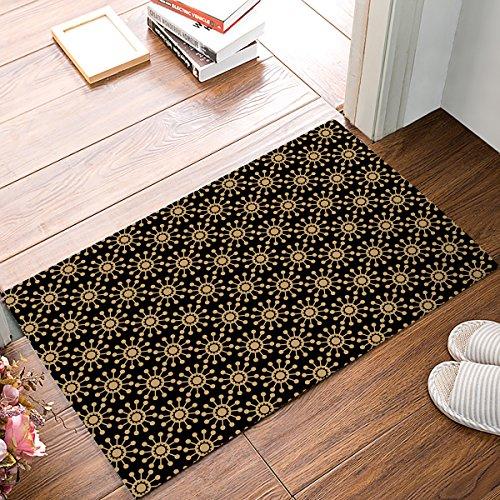 Mid Century Modern Patterns,Arabian Ornament Black and Brown Non-Slip Machine Washable Bathroom Kitchen Decor Rug Mat Welcome Doormat 20' W X 31.5' L