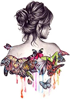 (Beautiful Girl) - Diy Oil Painting Drawing with Brushes Paint, Paint by Number Kit for Adults Butterfly Beauty Girl Decor...