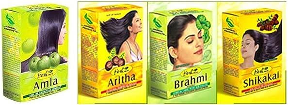 Hesh Herbal Amla Powder 100G, Brahmi Powder 100G, Shikakai Powder 100G, Aritha Powder 100G - 1 Complete Hair Care Combo Pack