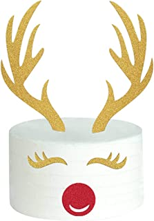 Palksky Set of 5 Glittery Christmas Elk Cake Topper With Eyelashes, Nose/Deer Antler Cake Decoration for Kid Birthday Wendding Baby Shower Xmas Party Supplies
