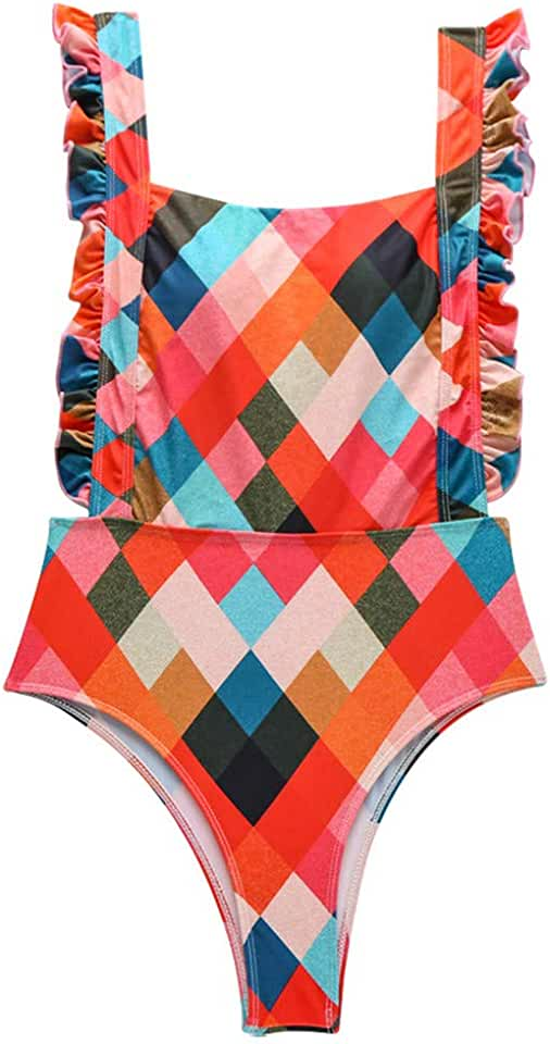 Aimik One Piece Swimsuits for Women - U Neck Flounce Backless Tummy Control Monokini Swimwear High Waisted Bathing Suit
