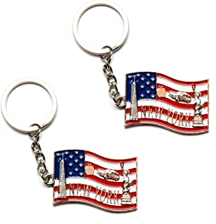 New York NYC NY Keychain Metal Key Ring - US Flag, Statue of Liberty, Empire State Building NYC Souvenir (Pack 2)