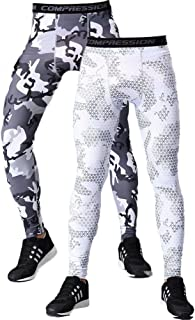 Men's 2 Pack Compression Pants Camouflage Sports Tight Legging Baselayer