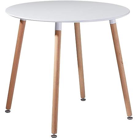 EGGREE Table Salle à Manger Ronde pour 2 4 Personne Table de Cuisine Scandinave Design, Pieds en Bois, 80x80x73cm Blanche