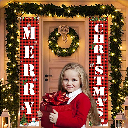RUIJIA Christmas Banners Outdoor Decorations Welcome Merry Christmas Porch Sign Hanging Banner for Front Door Indoor Home Wall Hanging Decor Party