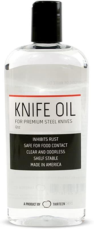 Thirteen Chefs Knife And Honing Oil 12oz Food Safe Protects Carbon Steel Knives Sharpening Stone Ready Made For Chefs