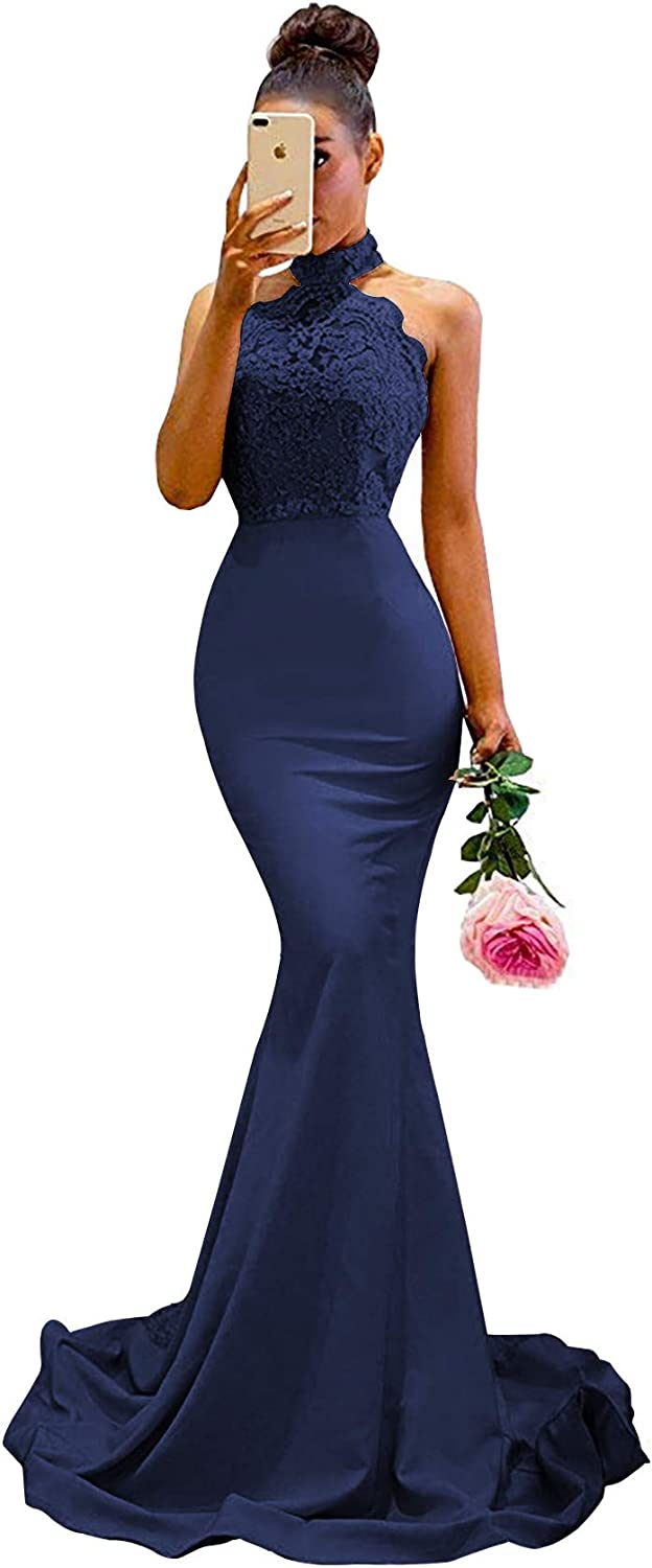 High Neck Lace Mermaid Bridesmaid Dresses Long Backless Formal Wedding Guest Prom Evening Gown