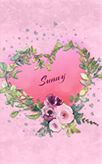 Sunny: Personalized Small Journal - Gift Idea for Women & Girls (Pink Floral Heart Wreath)