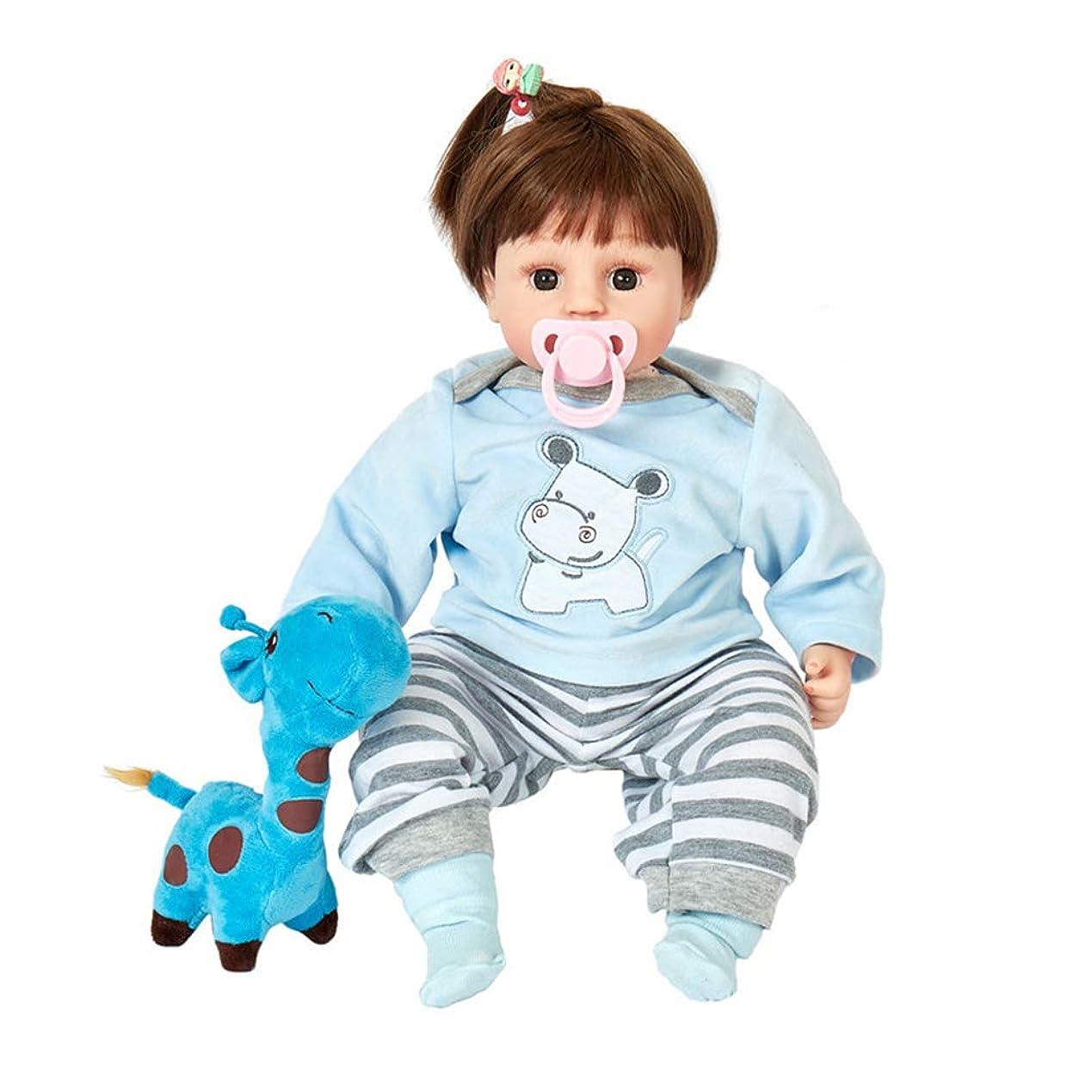 昼寝大型トラックどれでもラブリーリボーン人形かわいい47センチメートルソフトシリコーンビニール人形の幼児の人形、少年少女のための実式と運動ベストおもちゃとインタラクティブなベビードール,ブルー