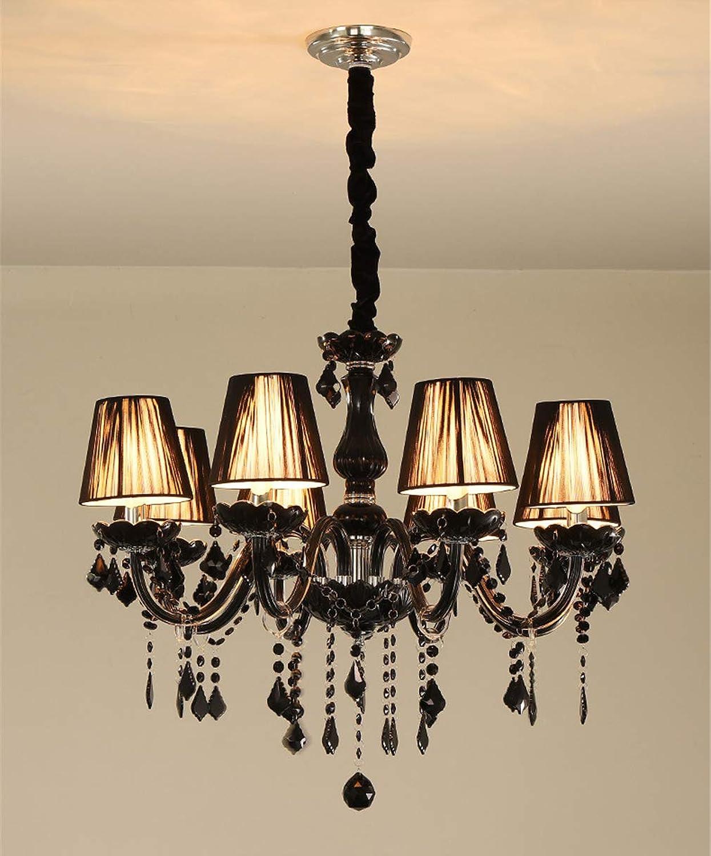 Pendant Lights Living Room EuropeanStyle Retro Black Crystal Cafe 8 Lamp Head Lighting Decoration (φ72cm, H 60cm)