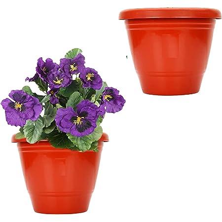 "Leafy Tales Plastic Pots, Terracotta Color 10 inch Pot Size, 2 Pieces, Big (10"" Terracotta Pot - 2)"