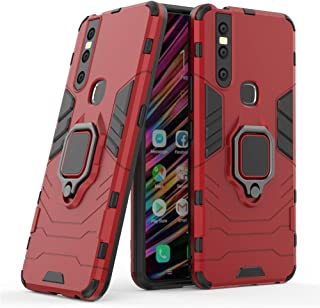 Compatible with vivo S1, V15 Case, Metal Ring Grip Kickstand Shockproof Hard Bumper Shell (Works with Magnetic Car Mount) Dual Layer Rugged Cover for VIVO S1, VIVO V15 (Red)