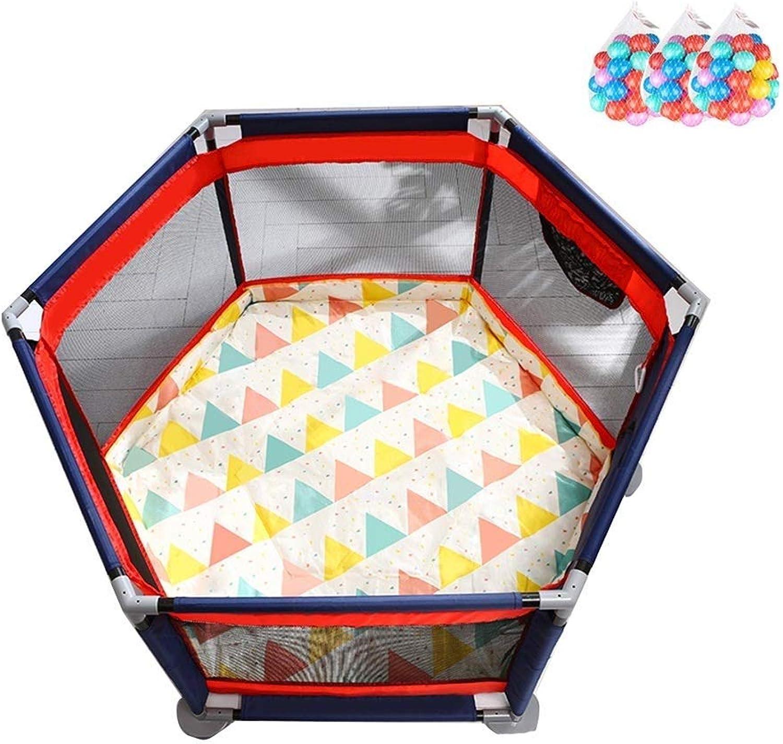 FJIE Baby-Laufstall Mit Bllen, Sicherheit Spielen 6-Panel-Spiel Zaun, Hof Für Indoor Outdoor Spielen (Größe   140X65CM)