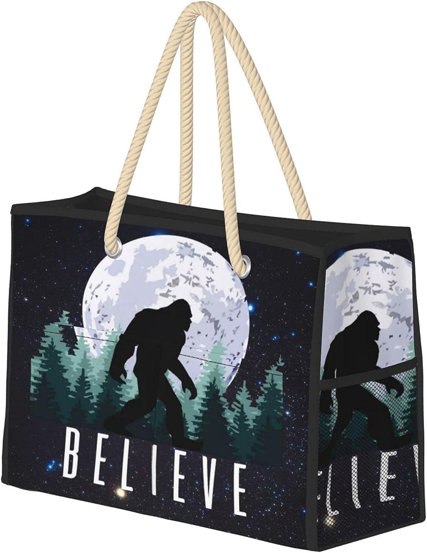Believe Bigfoot Women Beach Tote supreme Bag With Max 55% OFF Ha Large Zipper Travel