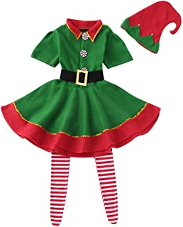 Toddler Baby Girls Christmas Clothes Set Kids Xmas Button Dress +Stripe Long Socks +Hat Outfits by Coupondeal