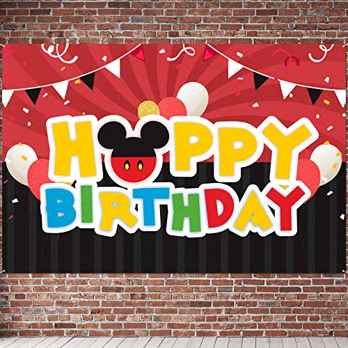 6 x 4 ft Large Sign Happy Birthday Backdrop Banner - Black Red Cartoon Theme for Baby Shower Party Decorations Background