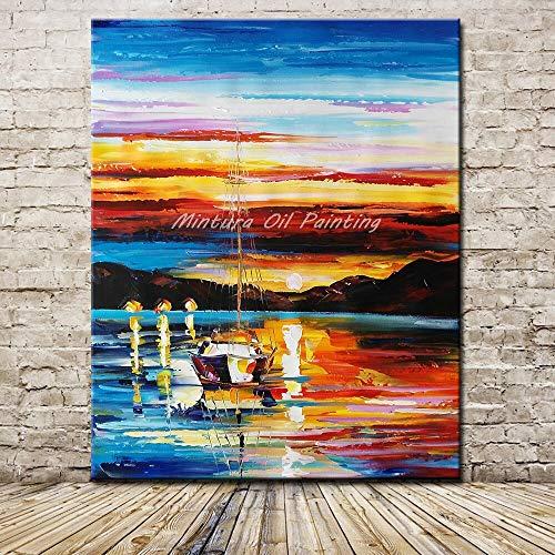 wojinbao DIY Digital Painting-Pure Hand Painting-Boot Landschaft Geschenk-Kits vorgedruckte Leinwand Kunst Home Decoration(Kein Rahmen)