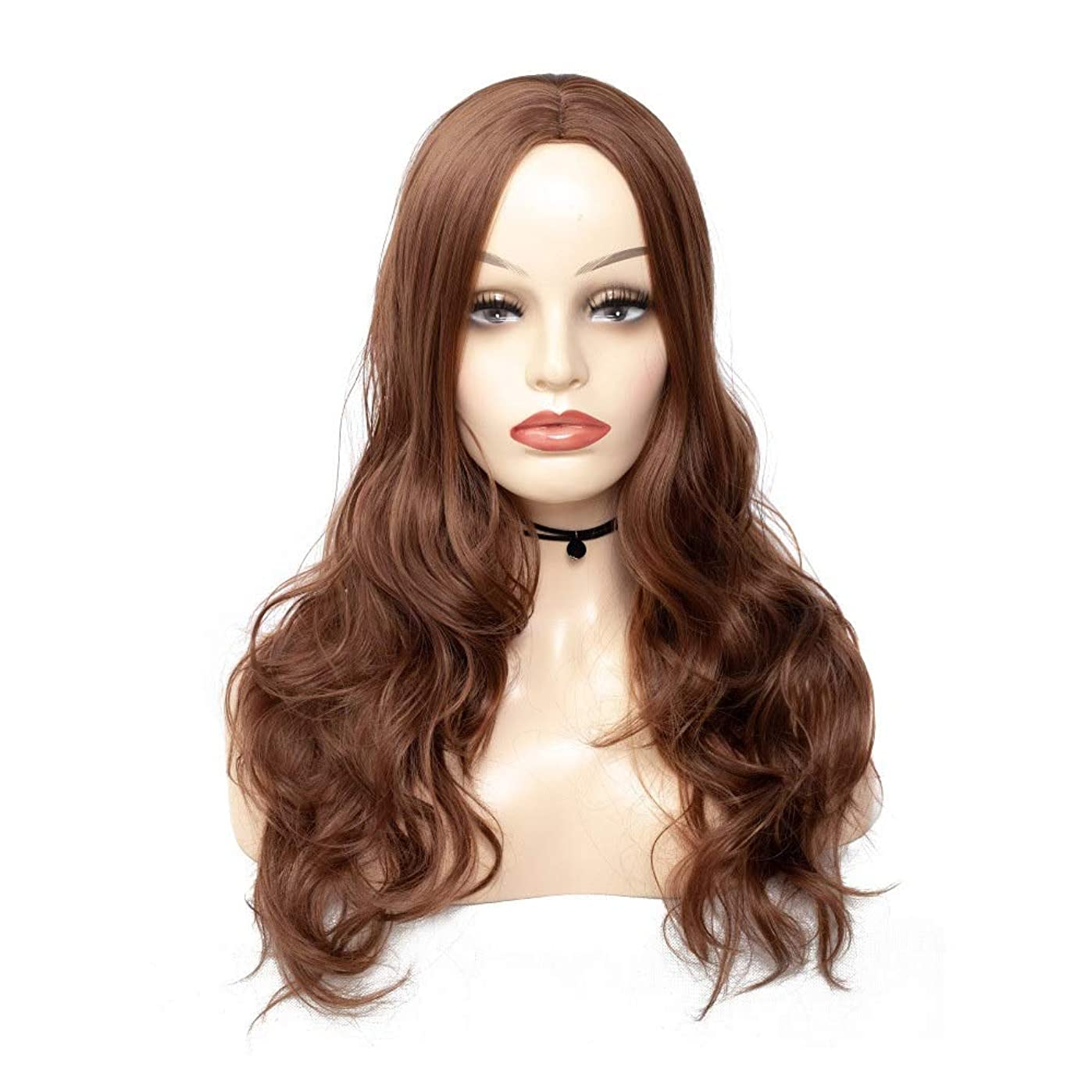 アレンジセッション再生的Yrattary コスプレパーティーパーティーウィッグのための美しい女性の長い茶色の波カーリーウィッグナチュラルフルウィッグ (Color : ブラウン, サイズ : 60cm)