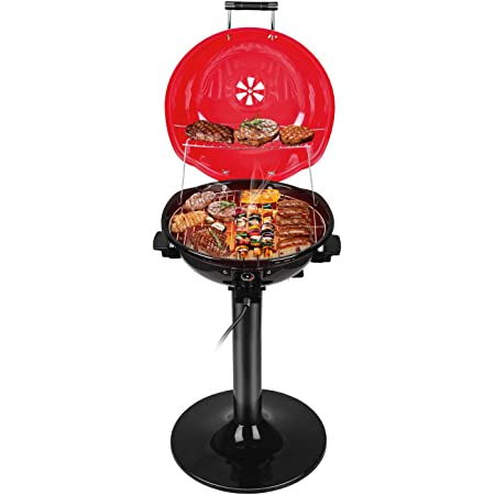 Electric BBQ Grill Techwood 15-Serving Indoor/Outdoor Electric Grill for Indoor & Outdoor Use, Double Layer Design, Portable Removable Stand Grill, 1600W (Stand Red BBQ Grills)