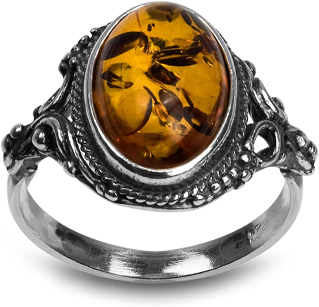Sterling Silver Amber Oval Ring Max 55% Ultra-Cheap Deals OFF