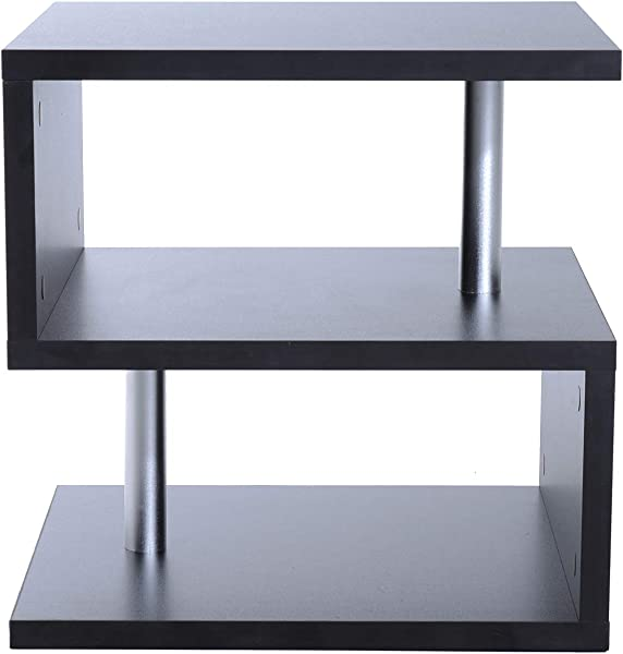 Festnight Accent End Table Designer S Shaped Multi Level Side Table Shelf Black 20
