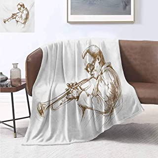 jecycleus Music Commercial Grade Printed Blanket Jazz Man Playing Trumpet with a Pose Sketch Image Solo Show Artwork Print Queen King W57 by L74 Inch Green Brown White