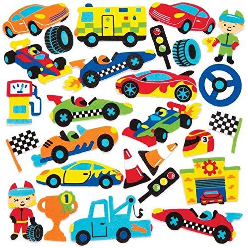 """Baker Ross Moosgummi-Aufkleber """"Rennwagen"""" (120 Stück) – lustige Moosgummi-Aufkleber mit Automotiven für Collagen und Bastelarbeiten"""
