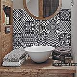Alwayspon Lot de 10 autocollants pour carrelage mural pour décoration de maison, Vinyle, noir/blanc, 20x20cm