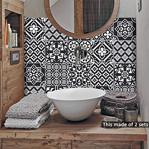 Lot de 10 stickers muraux autocollants pour décoration d'intérieur, salon, cuisine, salle de bain (Noir et blanc, 20 x 20 cm)